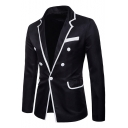 Mens Contrast Edge Button Pockets Patched Notched Lapel Collar Long Sleeve Casual Blazer Jackets