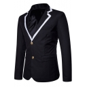 Fashion Contrast Notched Lapel Collar Long Sleeve Double Buttons Mens Casual Blazer Jacket