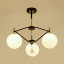 Contemporary Orb Chandelier White Glass 3/5/8 Lights Black Hanging Pendant for Bedroom