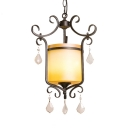 Rustic Style Drum Pendant Lighting 1 Light Suspended Light with Glass Shade and Clear Crystal Decoration