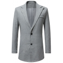 Men's Solid Peaked Lapel Double Button Long Sleeve Longline Sport Coat and Blazer