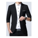 Men's Stylish Notched Lapel Solid Long Sleeve Double Button Casual Suit Blazer