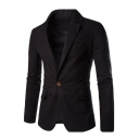 Simple Basic Plain Long Sleeve Notched Lapel Single Button Casual Linen Suit Blazer