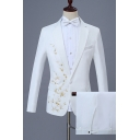 Mens Trendy Floral Embroidered Long Sleeve Single Button Lapel White Slim Wedding Suit Set for Groom