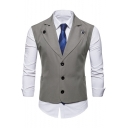 New Stylish Solid Color Button Front Notched Lapel Belt Back Mens Business Suit Vest