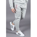 Mens Stylish Letter COUTURE Printed Drawstring Waist Cotton Slim Fit Running Sport Pants Sweatpants