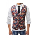 Men's Retro Floral Printed Single Breasted Buckle Back Wedding Suit Vest