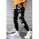 Guys Street Style Letter Stripe Badge Print Drawstring Waist Casual Black Track Pants