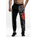 Mens Street Style Fashion Letter Camo Print Drawstring Waist Outdoor Training Casual Sweatpants