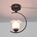 Scalloped/Bowl Semi Flush Light with Frosted Glass Shade 1 Light Vintage Semi Flush Mount Light