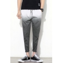 Men's Fashion Color Block Ombre Drawstring Waist Leisure Tapered Pants