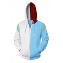 Hot Popular Cosplay 3D Colorblock Blue and White Zip Up Hoodie