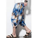 Mens Chinese Style Ethnic Printed Drawstring-Waist Casual Loose Beach Cropped Bloomers Harem Pants