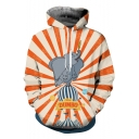 New Popular Stripe Comic Elephant Printed Pullover Sport Loose Hoodie