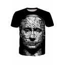 Summer New Fashion Unique Letter Portrait Pattern Short Sleeve Black T-Shirt