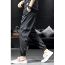 Mens Basic Fashion Drawstring Waist Simple Flap Pocket Side Loose Relaxed Cargo Trousers