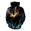 Cool Wolf Galaxy Printed Long Sleeve Unisex Loose Fit Black Drawstring Hoodie