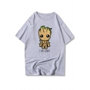 Guardians of the Galaxy Groot Figure Letter Print Short Sleeve Cotton Loose T-Shirt