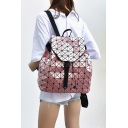 Hot Fashion Geometric Pattern Buckle Patched School Backpack