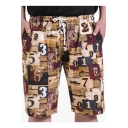 Summer New Trendy Numeral Printed Drawstring Waist Men's Beach Khaki Cotton Loose Casual Swim Trunks