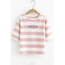 New Fashion Fishbone Letter BEST Pattern Round Neck Short Sleeve Striped T-Shirt