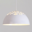 White Finish Hollowed-out Dome Shade Single Head Ceiling Hanging Light for Dining Room in 2 Sizes