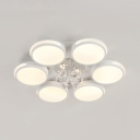 Modern White Ceiling Lamp with Round and Clear Crystal Acrylic LED Flush Light for Living Room