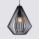Industrial Diamond Pendant Lamp Single Light Height Adjustable Metal Hanging Ceiling Light in Black