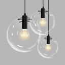 Glass Globe LED Hanging Lamp Height Adjustable Single Light Industrial Ceiling Light Fixture in Black
