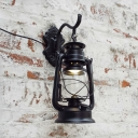 Living Room Kerosene Wall Lamp Metal Single Light Vintage Sconce Light in Black/Bronze