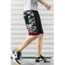 Guys Summer New Fashion Camo Patched Flap Pocket Back Beach Cotton Loose Shorts