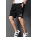 Summer Fashion Letter Pattern Zip Pockets Breathable Guys Black Casual Active Shorts