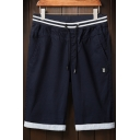 Men's Fashion Striped Drawstring Waist Rolled-Cuff Casual Straight Shorts