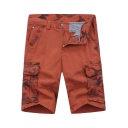 Unique Cool Camo Patched Men's Summer Fashion Cotton Straight Cargo Shorts
