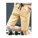 Men's Popular Solid Color Drawstring Waist Slim Fit Cotton Shorts