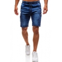 Mens Vintage Blue Drawstring Waist Flap Pocket Side Slim Fit Denim Shorts