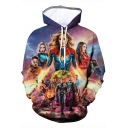 New Stylish 3D Character Printed Long Sleeve Drawstring Hoodie