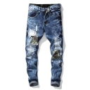 Men's Hot Fashion Camo Applique Patched Slim Fit Ripped Jeans