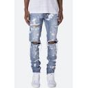 Men's New Trendy Ink Spray Printed Knee Cut Regular Fit Light Blue Ripped Jeans