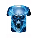 New Trendy Cool 3D Blue Fire Skull Printed Round Neck Basic T-Shirt