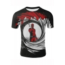 New Stylish Deadpool Cool 3D Character Printed Short Sleeve Black T-Shirt