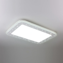 Rectangle Living Room Flush Light Acrylic Contemporary LED Ceiling Light Fixture in White/Warm