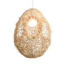 1 Light Oval Pendant Lighting with White Glass Shade Modern Knitted Suspension Light in Beige