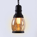 Industrial Black Pendant Light Single Light Metal and Glass Hanging Lamp for Kitchen