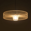 Beige Drum Pendant Lighting Single Light Asian Handmade Bamboo Suspended Light for Foyer