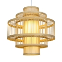 Drum Single Pendant Light for Coffee Shop Multi Tiers Bamboo Drop Light with 39
