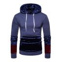 Hot Fashion Velvet Panelled Color Block Mens Long Sleeve Pullover Drawstring Hoodie