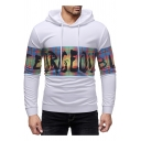 Funny Cool Plaid Letter Printed Long Sleeve Mens Leisure White Hoodie
