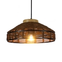 Rustic Barn Shade Hanging Light Fixtures for Living Room Rope Single Pendant Light in Beige, 12