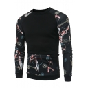 Cool Unique Chain Printed Round Neck Raglan Sleeve Black Casual Sweatshirt
